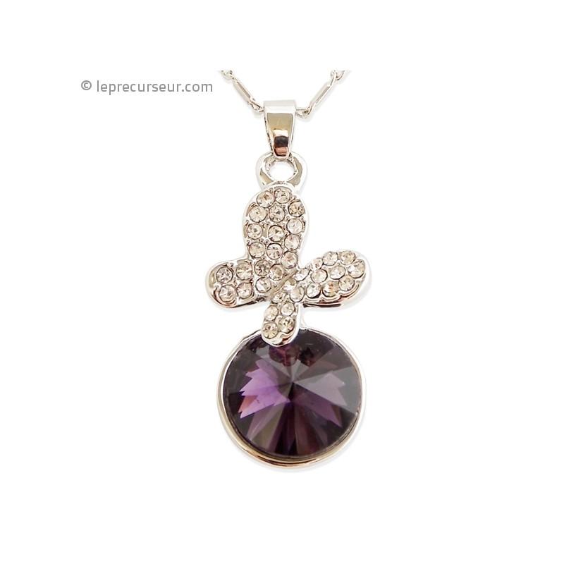 Collier au pendentif papillon et sa fausse pierre violette - Fausse pierre precieuse ...