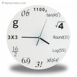 Horloge aux formules mathématiques