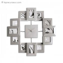 Horloge murale cadre photos argentée