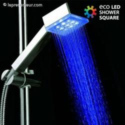 Pommeau de douche carré avec lumières LED