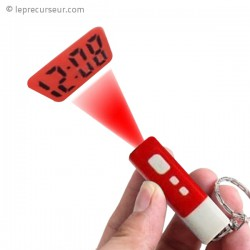 Porte-clés horloge projection LED rouge