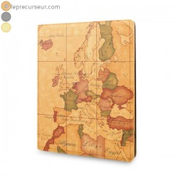 Étui cuir mappemonde rétro pour iPad