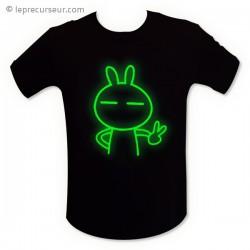 T-shirt motif fluorescent lapin