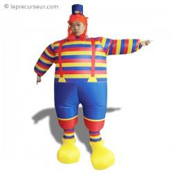Déguisement de clown à rayure bleu, jaune et rouge
