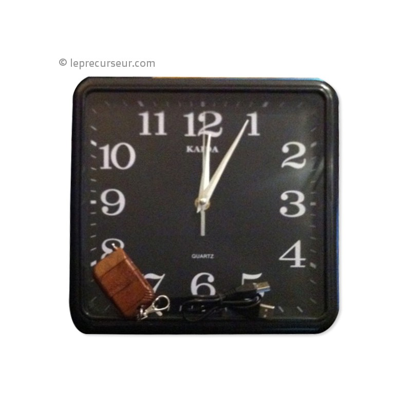 Horloge murale carr e 4go avec cam ra cach e - Horloge murale carree ...