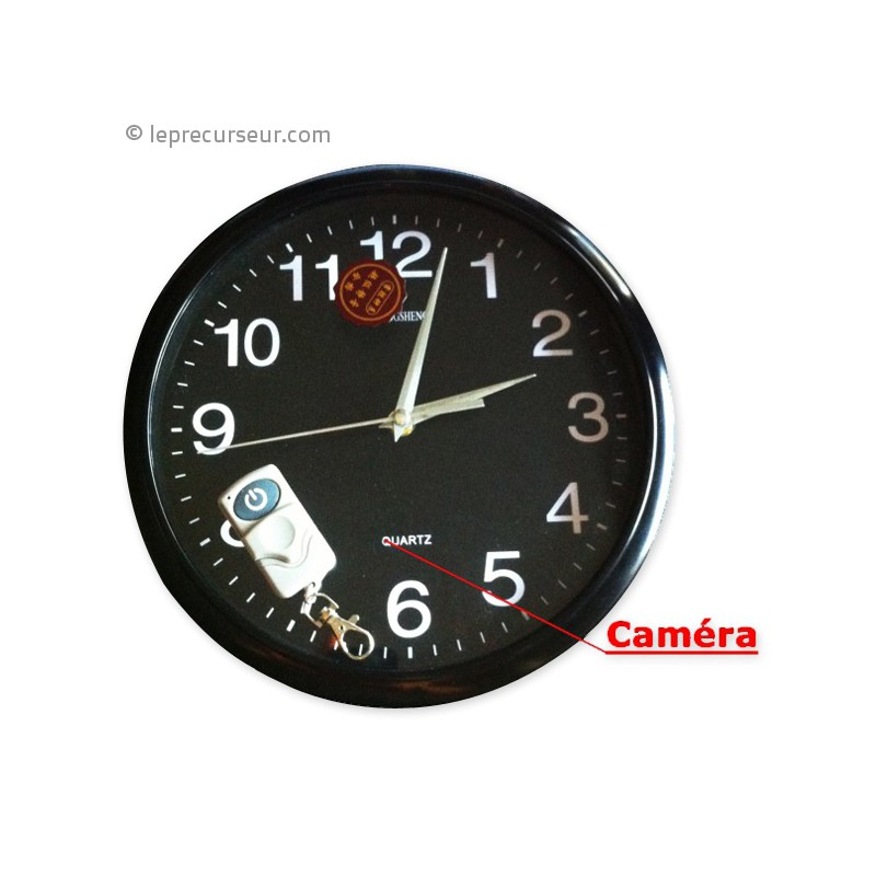 horloge murale ronde 4go avec cam ra t l command e. Black Bedroom Furniture Sets. Home Design Ideas