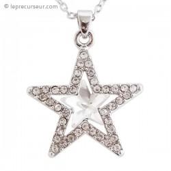 Collier argenté étoile en strass