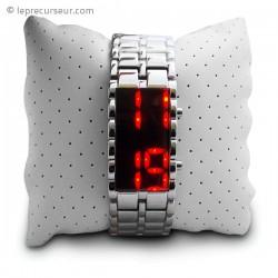 Montre bracelet en acier inoxydable avec LED