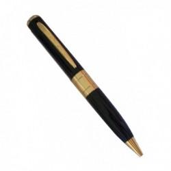Caméra espion dans un stylo classe noir et or