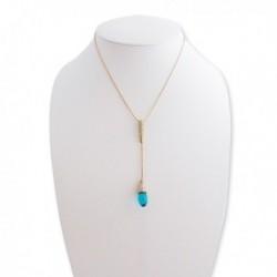 Collier doré, strass et faux cristal bleu