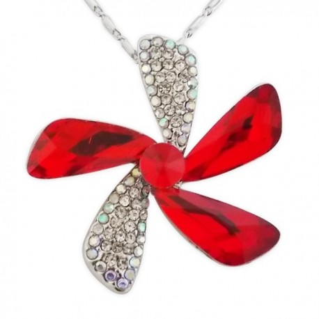 Collier grosse fleur aux pétales en strass et faux cristal rouge