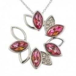 Collier pendentif fleur en faux diamant et strass