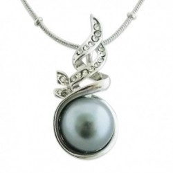 Collier argenté à pendentif perle grise
