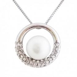 Collier et son pendentif anneau strass et perle blanche