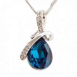 Pendentif fausse pierre bleue en forme de goutte