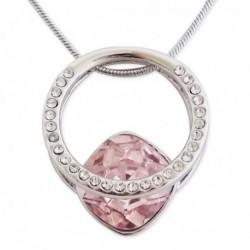 Collier et son pendentif délicat aux strass et faux cristal rose pâl