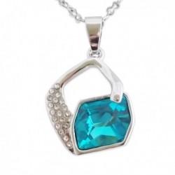 Collier splendide avec strass et faux cristal turquoise