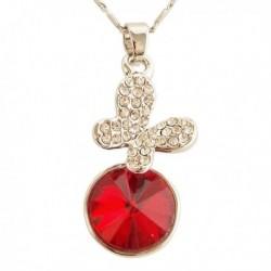 Collier pendentif pierre rouge et papillon en strass