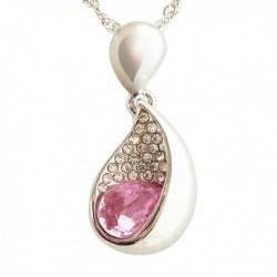 Collier pendentif goutte strass et faux cristal rose