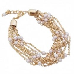 Bracelet aux 9 chaines dorées avec perles blanches