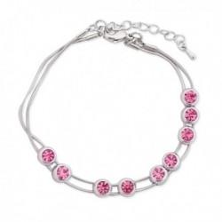 Bracelet argenté et cristaux roses fantaisie