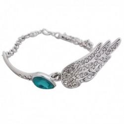 Ravissant bracelet argenté, turquoise et strass