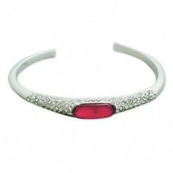Bracelet ouvert strass et faux diamant rose