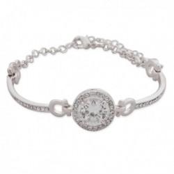 Bracelet argenté aux faux cristaux blancs
