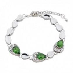 Bracelet argenté, strass et faux cristal vert