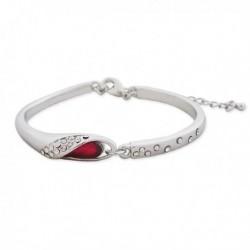 Bracelet argent, strass et faux diamant rouge