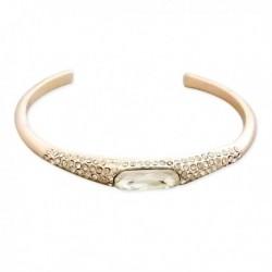 Bracelet doré ouvert avec strass et faux cristal blanc