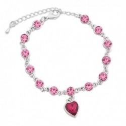 Bracelet aux faux cristaux roses et son cœur