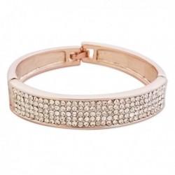 Bracelet large couleur or et strass blancs