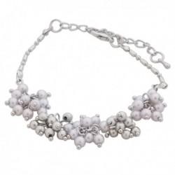 Bracelet aux compositions de perles blanches et grises