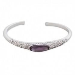 Bracelet rigide en strass et pierre violette