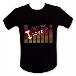 "T-shirt interactif equalizer lumineux ""I love music"""