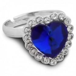Bague argentée avec cœur bleu et strass