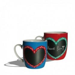 Mug en céramique avec tableau à la craie coeur