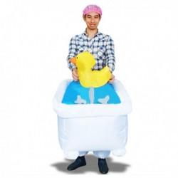 Costume gonflable homme dans sa baignoire avec canard