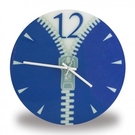 Horloge fermeture éclair bleue