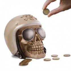 Tirelire crâne de motard