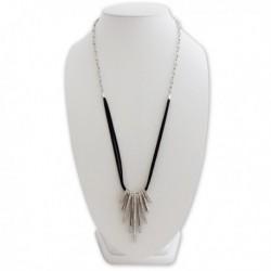 Collier long avec pendentif 9 anneaux argentés strass