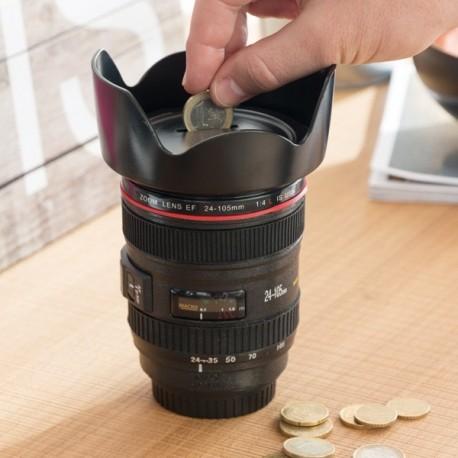 Tirelire en forme d'objectif d'appareil photo