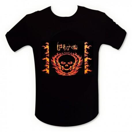 T-shirt LED tête de mort en feu