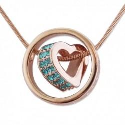 Collier aspect doré avec pendentif en anneau avec cœur au milieu