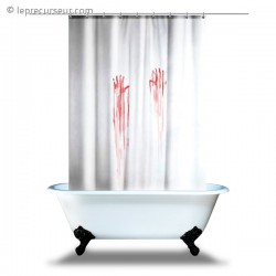 Rideau de douche traces de mains ensanglantées