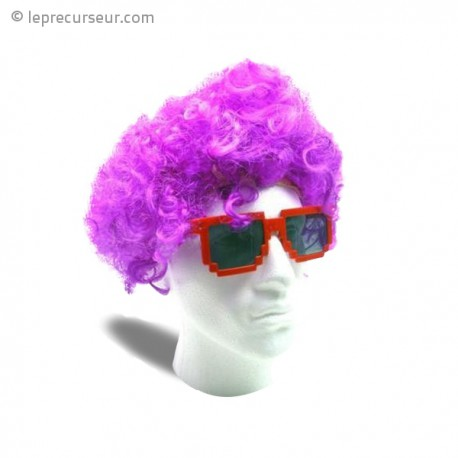 Perruque violette coupe afro