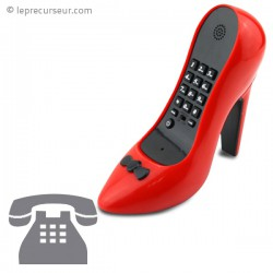 Téléphone fixe escarpin rouge