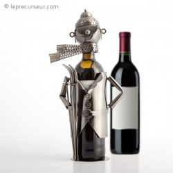 Porte-bouteille skieur en métal