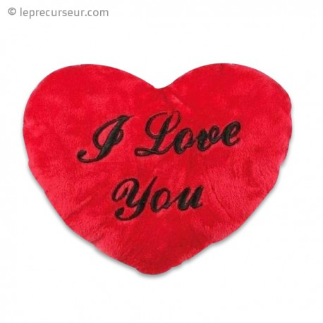 Coussin peluche coeur I Love You